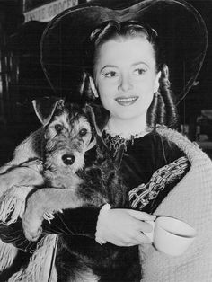 "katharinehepburn: "" Olivia de Havilland on the set of Devotion with her dog Shadrack, 1946 """