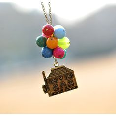 Necklace,Beadwork Necklace ,Flying House,Flying Dreams,Up Movie... ($18) ❤ liked on Polyvore featuring jewelry, necklaces, locket jewelry, pendant locket, paper jewelry, locket necklace and pendant necklaces