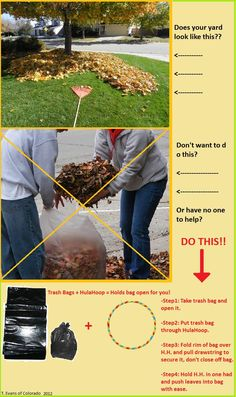 BAG FALL LEAVES WITH EASE DIY I thought of this myself. Idk if anyone else has but i thought I would share.