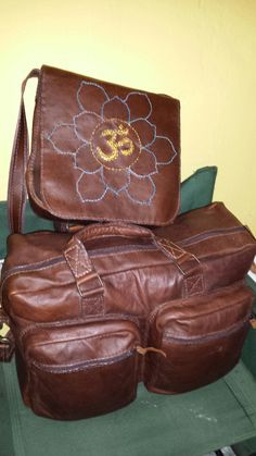oiled leather hand stiched luggage set