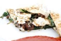 Mushroom, Fontina and Spinach Quesadillas, use organic sprouted tortillas, rice bran oil instead of vegetable oil spray