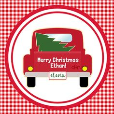 Christmas Tag or Label Red Truck with Tree by Freshcitrus on Etsy