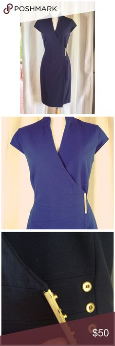 "CALVIN KLEIN DRESS NWOT Nicely tailored wrap dress the color is navy first picture is best color.  Has a beautiful fit rather low cut if you have a big chest. I'm 34D fits perfect. 15"" at waist 38"" long. 63% Poly 33% Rayon 4% Spandex fully lined. Never worn. Calvin Klein Dresses"