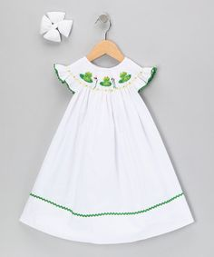 Take a look at this White Frog Dress & Bow - Infant, Toddler & Girls by Molly Pop Inc. on #zulily today!