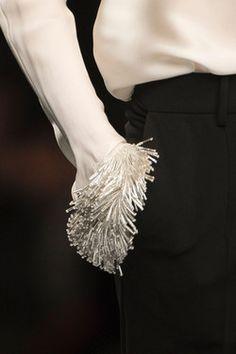 Anteprima at Milan Fashion Week Fall 2013 Beads Detail on a White Blouse Sleeve. Anteprima at Milan Fashion Week Fall 2013 Couture Details, Fashion Details, Look Fashion, Runway Fashion, High Fashion, Fashion Beauty, Womens Fashion, Fashion Design, Milan Fashion