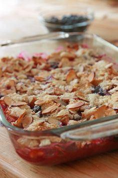 Passover Berry Crisp With Strawberries, Fresh Blueberries, Sugar, Ground Cinnamon, Vegetable Oil Cooking Spray, Matzo Meal, Sugar, Sliced Almonds, Butter Berry Crisp Recipe, Passover Recipes, Berries, Cereal, Grains, Bays, Berry, Corn Flakes, Breakfast Cereal