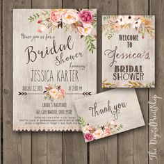 Bridal shower INVITATION Rustic Garden shower invite welcome sign thank you card wood pink peonies boho chic Printable DIY 171 Digital jpg