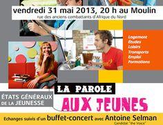 Ce soir, au Moulin de #Louviers, venez assister aux Etats Généraux de la Jeunesse, suivi d'un concert d'Antoine Selman