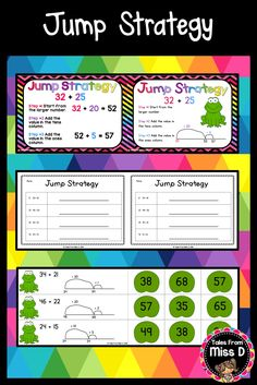 This pack will help you teach the Jump Strategy for Addition to your class. In this pack; Two posters explaining the strategy (one with a number line, one as an addition question). Frog Hop Game. This can be played in two ways (partners or individual match up) and 2 worksheets