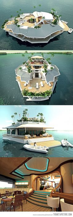 Boat island/island boat...why am I not living this way?! I guess one of the dogs (the Cairn Terrier) would hate it, but the other (the Boxer/Pit/maybe some Lab/maybe some German Shepherd/maybe some Rot or Cane Corso/etc.) would love it. She loves swimmin'!!!