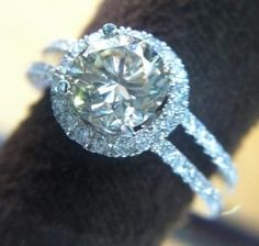 Round Champagne Diamond with Halo and Double Band