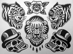 Tattoojoris flash tiger lion skull