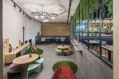Charlie Pizza by is a new restaurant project designed by In Arch and is located in Kaunas, Lithuania. Photos by Leon Garbačauskas Grill Restaurant, Restaurant Design, Italian Cafe, Kids Cafe, Outdoor Furniture Sets, Outdoor Decor, Commercial Design, Coffee Shop, Architecture Design