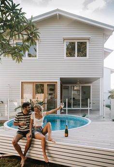 Step Inside Ellie Bullens Beach Inspired Home – harpers project Small Backyard Pools, Small Pools, Home Beach, Beach House, Outdoor Spaces, Outdoor Living, Stock Tank Pool, Beach Shack, House Goals