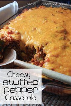 Mostly Homemade Mom: Cheesy Stuffed Pepper Casserole