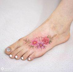 """Vaizdo rezultatas pagal užklausą """"wildflower tattoo on foot"""" red carnation, yellow chrysanthemum, orange gladiolus"""