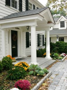 Pin for Later: Entryway decoration. Front porch side view - traditional - entry - philadelphia - by Lasley Brahaney Architecture + Construction. Front porch side view - traditional - entry - philadelphia - by Lasley Brahaney Architecture + Construction. Front Porch Addition, Front Door Porch, Front Porch Design, Front Door Overhang, Front Doors, Colonial House Exteriors, Colonial Exterior, Exterior Design, House With Porch