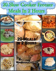 20 Slow Cooker Freezer Meals In 2 Hours Slow Cooker Freezer Meals, Make Ahead Freezer Meals, Crock Pot Freezer, Dump Meals, Crock Pot Slow Cooker, Freezer Cooking, Crock Pot Cooking, Slow Cooker Recipes, Crockpot Recipes