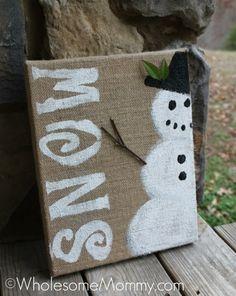 DIY Snowman Burlap Painting