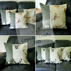 """large 18"""" cushions made with Harris tweed and fryetts stag or pheasant from http://countrycraftybits.co.uk"""