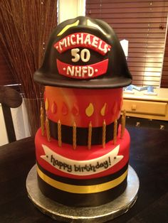 the fireman's cake. ct (how apropoe) How To Stack Cakes, Fancy Cakes, Holiday Party Themes, Theme Parties, Party Ideas, Man Birthday, Birthday Ideas, Happy Birthday, Birthday Cake