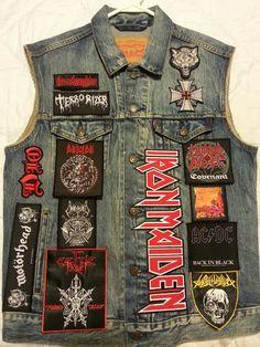 Nice patches- added points for the Levis vest Combat Jacket, Jean Jacket Vest, Battle Jacket, Punk Jackets, Cool Jackets, Grunge Fashion, Rock Fashion, 80s Outfit, Shoes