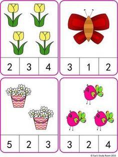 tavaszi -számláló Spring Count and Clip Cards: Numbers Kindergarten Math Worksheets, Preschool Learning Activities, Preschool Printables, Preschool Activities, Numbers Preschool, Math For Kids, 19 Kids, Math Centers, Cards