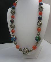 Millefiori Carnelain and Silver Necklace c1970 UNUSUAL