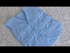 Knitting Stiches, Knitting Videos, Baby Knitting Patterns, Hand Knitting, Kids Dress Wear, Kids Wear, Knitted Baby Clothes, Knitted Hats, Baby Boy Vest