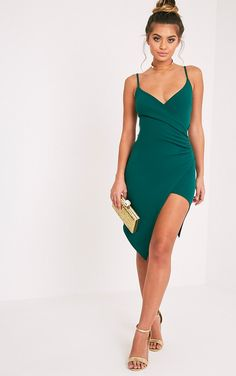 Lauriell Emerald Green Wrap Front Midi Dress Image 1