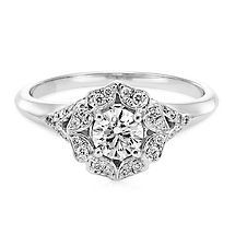 Royal Asscher&#174 5/8 ct. tw. Diamond Halo Ring in 14K Gold