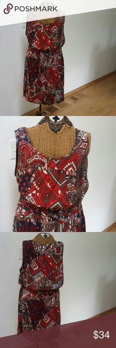 """LUCKY BRAND JEANS Dress native western flare L How cute would this be with cowboy boots Sz L Blue red native western print Scoop neckline Belted Rayon...so cool and comfy Underarm to underarm 21"""" Waist 32"""" elastic so a bit of stretch  Top of shoulder to hem 39.5"""" New with store retail tags attached Lucky Brand Dresses"""