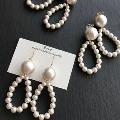 ハンドメイドマーケット+minne(ミンネ)|+大きめコットンパールのドロップピアス++ Cute Jewelry, Bridal Jewelry, Jewelry Crafts, Bead Jewellery, Beaded Jewelry, Jewelery, Homemade Jewelry, Jewelry Patterns, Bead Earrings