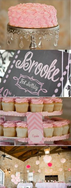 Sweet Vintage Pink Chevron 1st Birthday Party via Karas Party Ideas KarasPartyIdeas.com #sweet #vintage #pink #chevron #1st #birthday #party #ideas