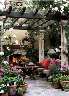 I would love to have an outdoor sitting area like this