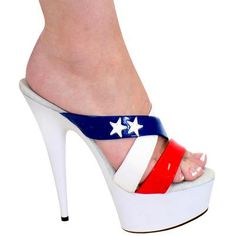 """Red, White & Blue with Stars Patent Leather Platform Slides 6"""" Heels."""