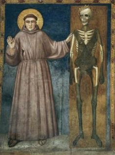 GIOTTO di Bondone St Francis Points to Death  c. 1320 Fresco North transept, Lower Church, San Francesco, Assisi  This painting is located on the west wall in the northern transept to the right of the stairway leading to the upper story of the cloister. It depicts St Francis raising his right hand, exhorting us to pause, and pointing with his left to a decayed corpse, a crown askew on its head - a reminder of death, before which we all are equal.