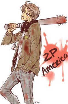 2P America. Guessing this will be one of the few pictures.   ^^ 2p!America Reminds me of Squall Leonhart from Final Fantasy. XDD