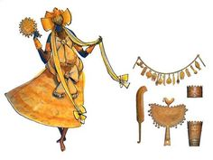 Carybe's drawing of an Oxum/Oshun initiate and her Candomble accessories. Vive the Yoruba and their orixa!