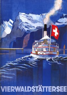 SWITZERLAND - old print ad from suisse vierwaldstattersee Vintage Travel