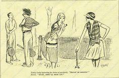 Mixed Doubles, Vintage Tennis Cartoon, 1929