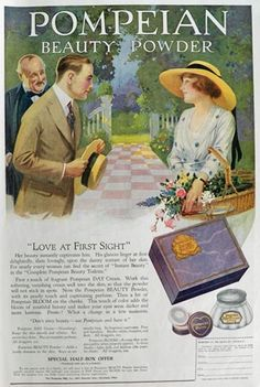 1919 Pompeian Beauty Powder Ad ~ Love at First Sight