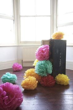 colorful sitting poms