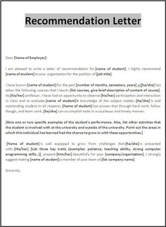 Letter Of Recommendation Templates You Can Download And Print