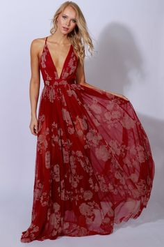Yours Tulley Print Gown Red
