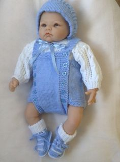 Newborn Vintage Style Romper Oufit in Light Blue and White or will fit a 18-20 inch Reborn Baby Doll Ready to Ship Now by Meganknits4charity on Etsy