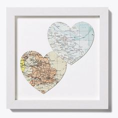 Bespoke Map Heart Duo  by Bombus  Where the kids were born, Dan & I....