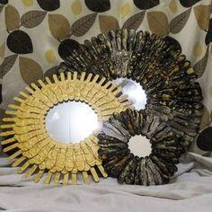 How to make a sunburst mirror using popsicle sticks Home Crafts, Diy Home Decor, Crafts For Kids, Diy Crafts, Popsicle Art, Popsicle Sticks, Cardboard Recycling, Mirror Crafts, Sunburst Mirror