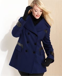 Via Spiga Plus Size Coat, Faux-Leather-Trim Pleated Pea Coat In Navy - Macy's