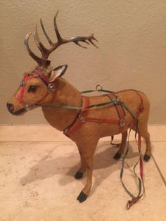 Antique-German-Felt-Over-Paper-Mache-Candy-Container-Reindeer-Metal-Antlers
